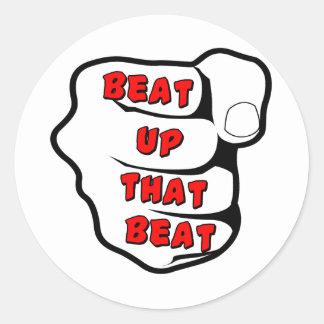 Beat Up The Beat Classic Round Sticker