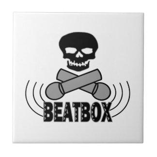 Beatbox Skull & Crossbone Mics Ceramic Tile