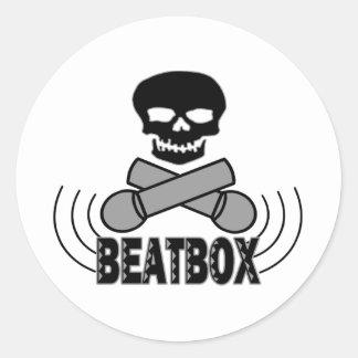 Beatbox Skull & Crossbone Mics Classic Round Sticker