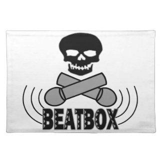 Beatbox Skull & Crossbone Mics Cloth Placemat