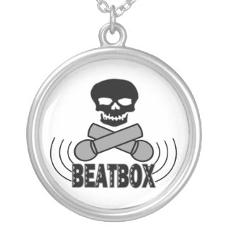 Beatbox Skull & Crossbone Mics Silver Plated Necklace