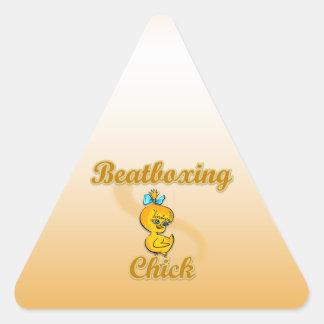Beatboxing Chick Triangle Sticker