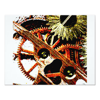 Beaten Up Clock Gears Personalized Invites