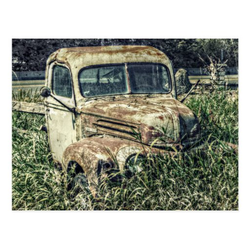 Beater Vintage Antique Work Truck on Farm Postcard