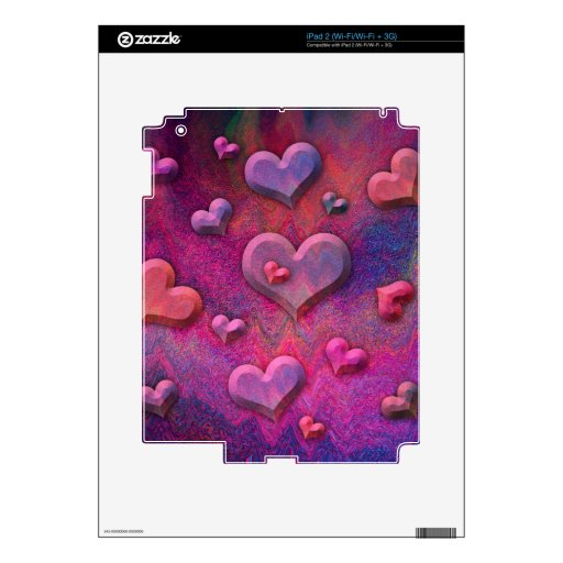 Beatiful Pink Hearts Decals For The iPad 2