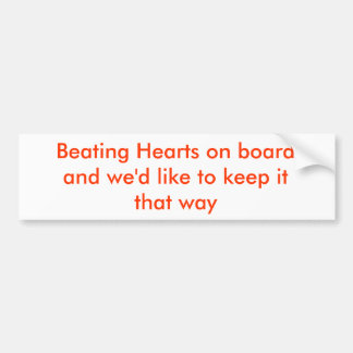 Beating Hearts on Board Car Bumper Sticker