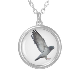 Beating wings round pendant necklace