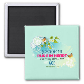 Beatitude Quote with Butterflies and Blossoms 2 Inch Square Magnet