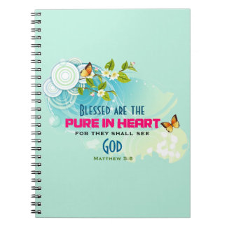 Beatitude Quote with Butterflies and Blossoms Notebook