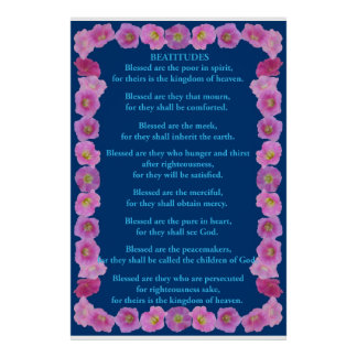 Beatitudes in a Pink Hollyhock Frame Poster