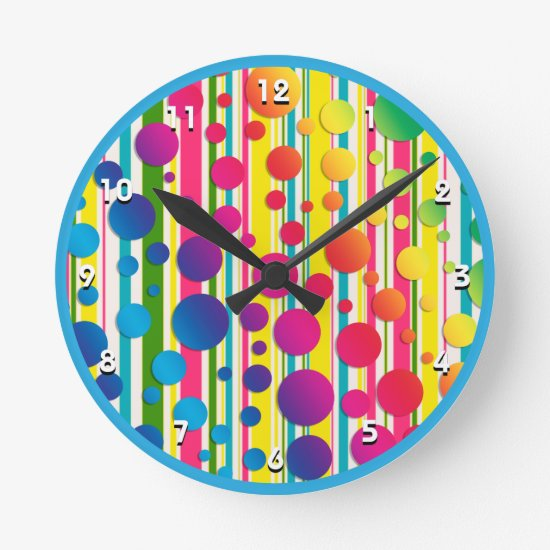 [Beatnic Bubbles] Retro Polka Dot Striped Blue Round Clock
