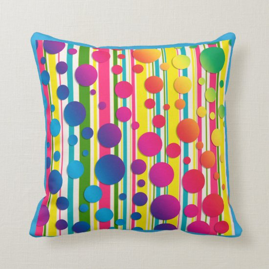 [Beatnic Bubbles] Retro Polka Dot Striped Blue Throw Pillow