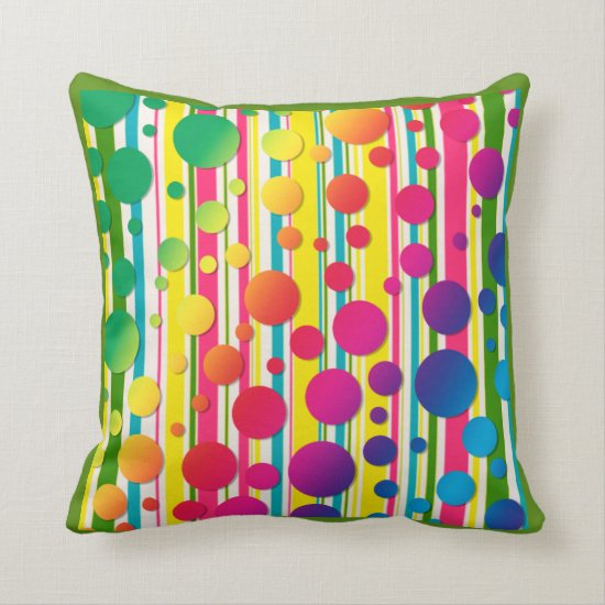 [Beatnic Bubbles] Retro Polka Dot Striped Green Throw Pillow