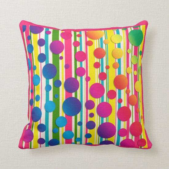 [Beatnic Bubbles] Retro Polka Dot Striped Pink Throw Pillow
