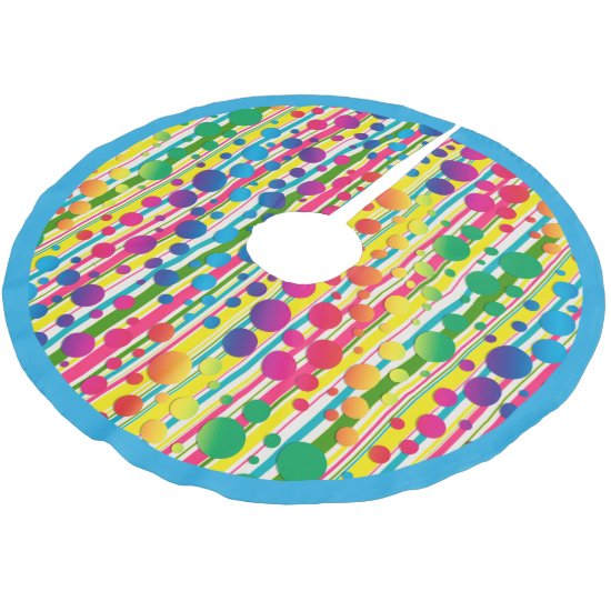 [Beatnik Bubbles] Retro Polka Dot Striped Blue Brushed Polyester Tree Skirt