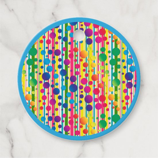 [Beatnik Bubbles] Retro Polka Dot Striped Blue Favor Tags