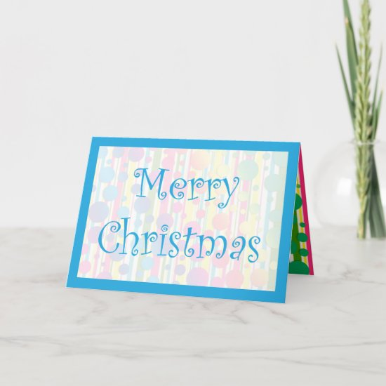 [Beatnik Bubbles] Retro Polka Dot Striped Blue Holiday Card