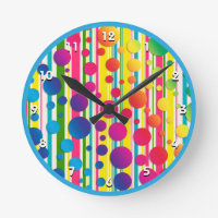 [Beatnik Bubbles] Retro Polka Dot Striped Blue Round Clock
