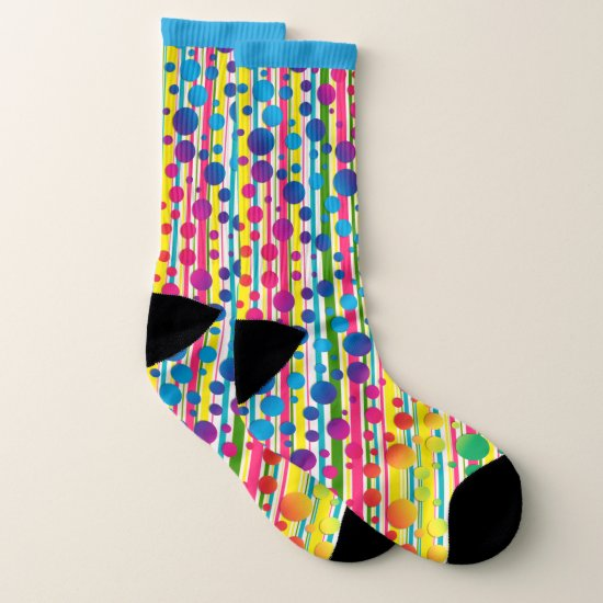 [Beatnik Bubbles] Retro Polka Dot Striped Blue Socks