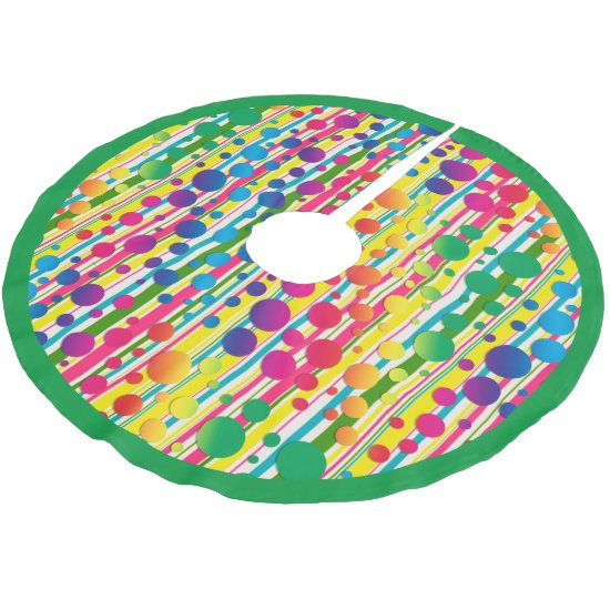 [Beatnik Bubbles] Retro Polka Dot Striped Green Brushed Polyester Tree Skirt