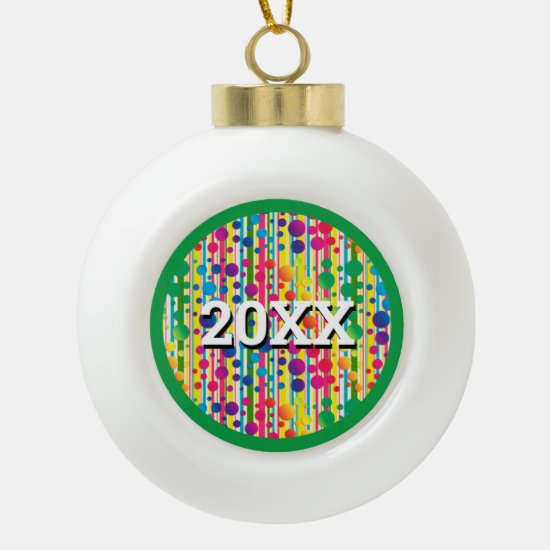 [Beatnik Bubbles] Retro Polka Dot Striped Green Ceramic Ball Christmas Ornament
