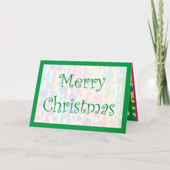 [Beatnik Bubbles] Retro Polka Dot Striped Green Holiday Card