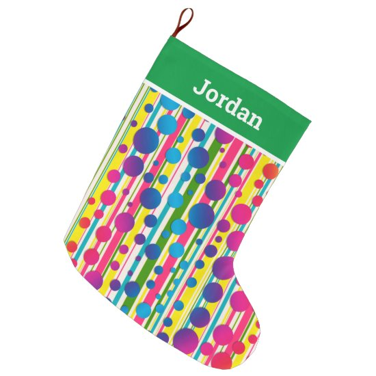 [Beatnik Bubbles] Retro Polka Dot Striped Green Large Christmas Stocking