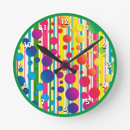 [Beatnik Bubbles] Retro Polka Dot Striped Green Round Clock