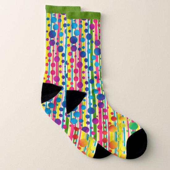 [Beatnik Bubbles] Retro Polka Dot Striped Green Socks