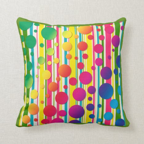 [Beatnik Bubbles] Retro Polka Dot Striped Green Throw Pillow