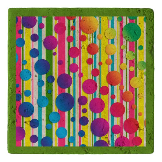 [Beatnik Bubbles] Retro Polka Dot Striped Green Trivet