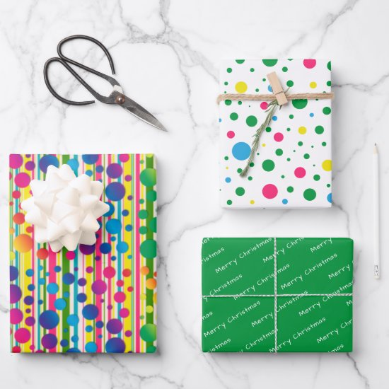 [Beatnik Bubbles] Retro Polka Dot Striped Green Wrapping Paper Sheets