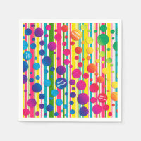 [Beatnik Bubbles] Retro Polka Dot Striped Paper Napkin