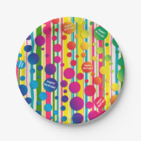 [Beatnik Bubbles] Retro Polka Dot Striped Paper Paper Plate