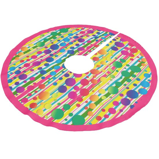 [Beatnik Bubbles] Retro Polka Dot Striped Pink Brushed Polyester Tree Skirt