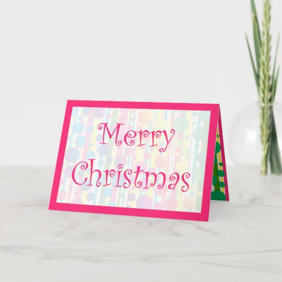 [Beatnik Bubbles] Retro Polka Dot Striped Pink Holiday Card