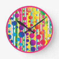 [Beatnik Bubbles] Retro Polka Dot Striped Pink Round Clock
