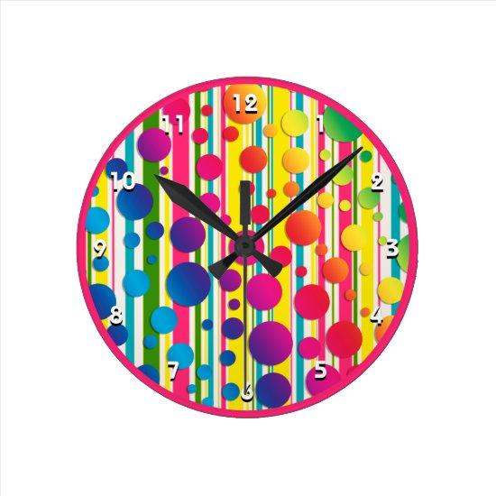 [Beatnik Bubbles] Retro Polka Dot Striped Pink Round Clock