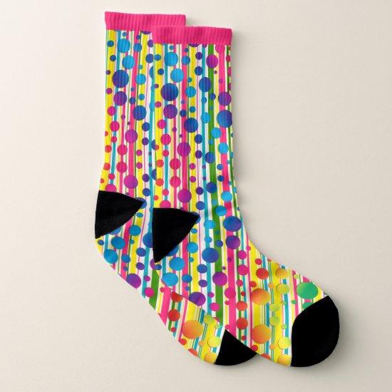 [Beatnik Bubbles] Retro Polka Dot Striped Pink Socks