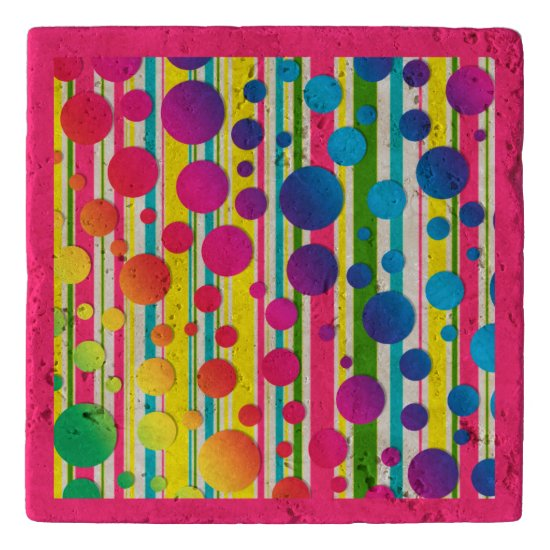 [Beatnik Bubbles] Retro Polka Dot Striped Pink Trivet