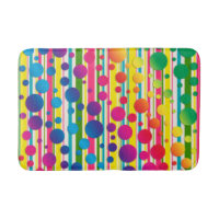 [Beatnik Bubbles] Retro Polka Dot Striped Rainbow Bath Mat