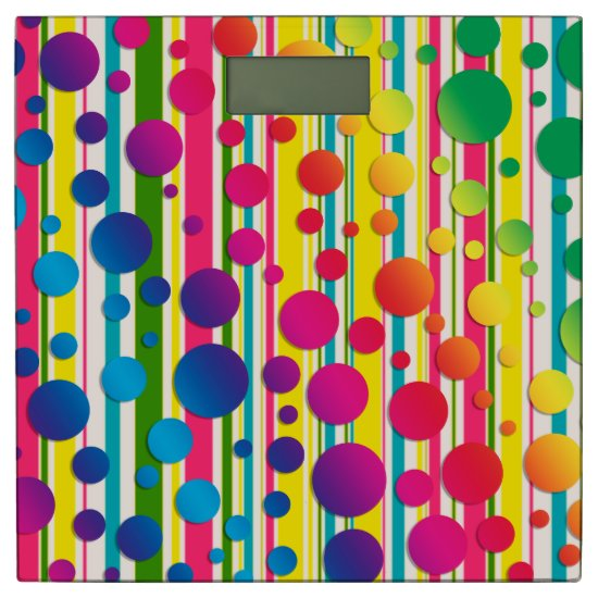 [Beatnik Bubbles] Retro Polka Dot Striped Rainbow Bathroom Scale
