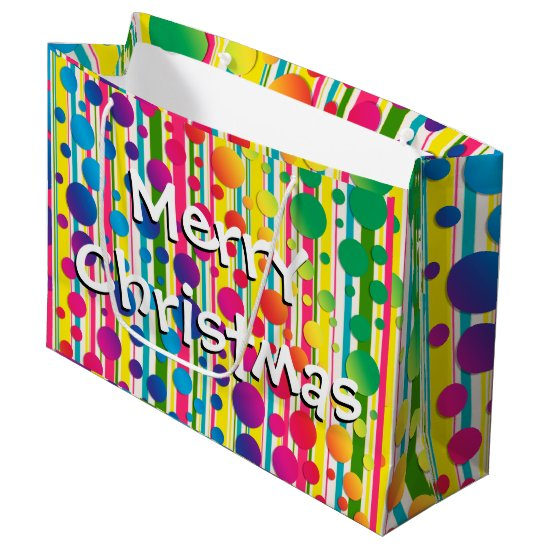 [Beatnik Bubbles] Retro Polka Dot Striped Rainbow Large Gift Bag