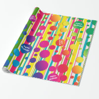 [Beatnik Bubbles] Retro Polka Dot Striped Rainbow Wrapping Paper