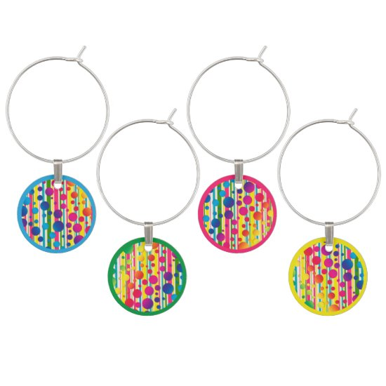 [Beatnik Bubbles] Retro Polka Dot Striped Wine Charm