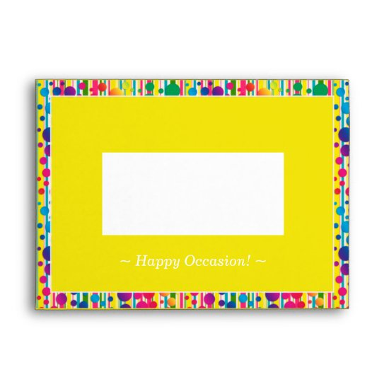 [Beatnik Bubbles] Retro Polka Dot Striped Yellow Envelope