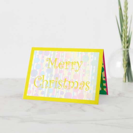 [Beatnik Bubbles] Retro Polka Dot Striped Yellow Holiday Card