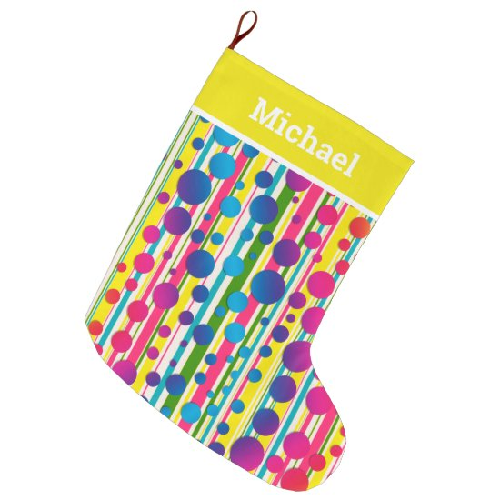 [Beatnik Bubbles] Retro Polka Dot Striped Yellow Large Christmas Stocking