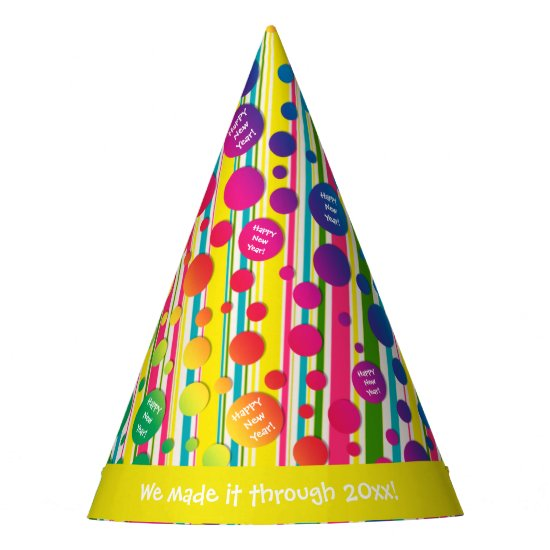 [Beatnik Bubbles] Retro Polka Dot Striped Yellow Party Hat