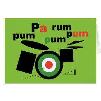 Beatnik Drummer Boy Greeting Card / Green